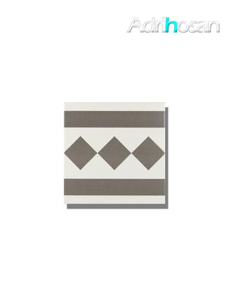 Pavimento imitación hidráulico Antigua gris cenefa 20x20 cm (pieza)
