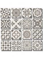 Pavimento imitación hidráulico Antigua gris decor 20x20 cm. Diseños del pasado con tecnología del presente, azulejo para paredes y suelos vintage.