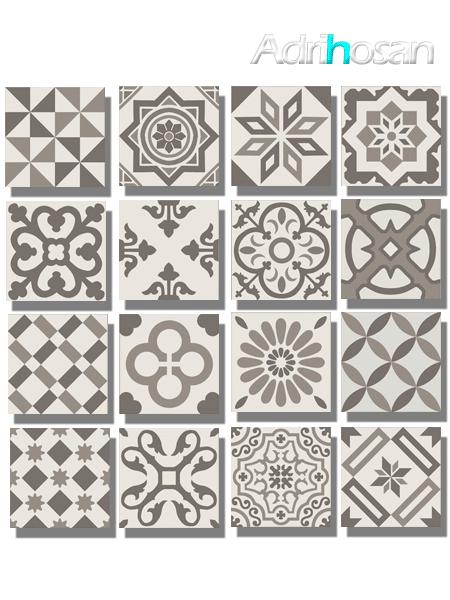 Pavimento imitación hidráulico Antigua gris decor 20x20 cm (1 m2/cj)