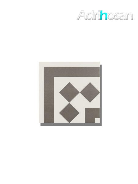 Pavimento imitación hidráulico Antigua gris esquina 20x20 cm (pieza)