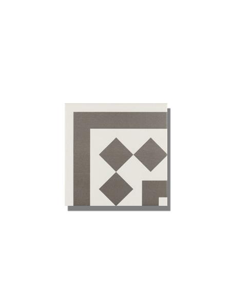 Pavimento imitación hidráulico Antigua gris esquina 20x20 cm. Diseños del pasado con tecnología del presente, azulejo para paredes y suelos vintage