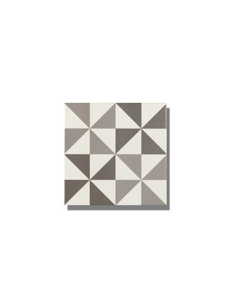 Pavimento imitación hidráulico Antigua gris triangulo 20x20 cm. Diseños del pasado con tecnología del presente, azulejo para paredes y suelos vintage