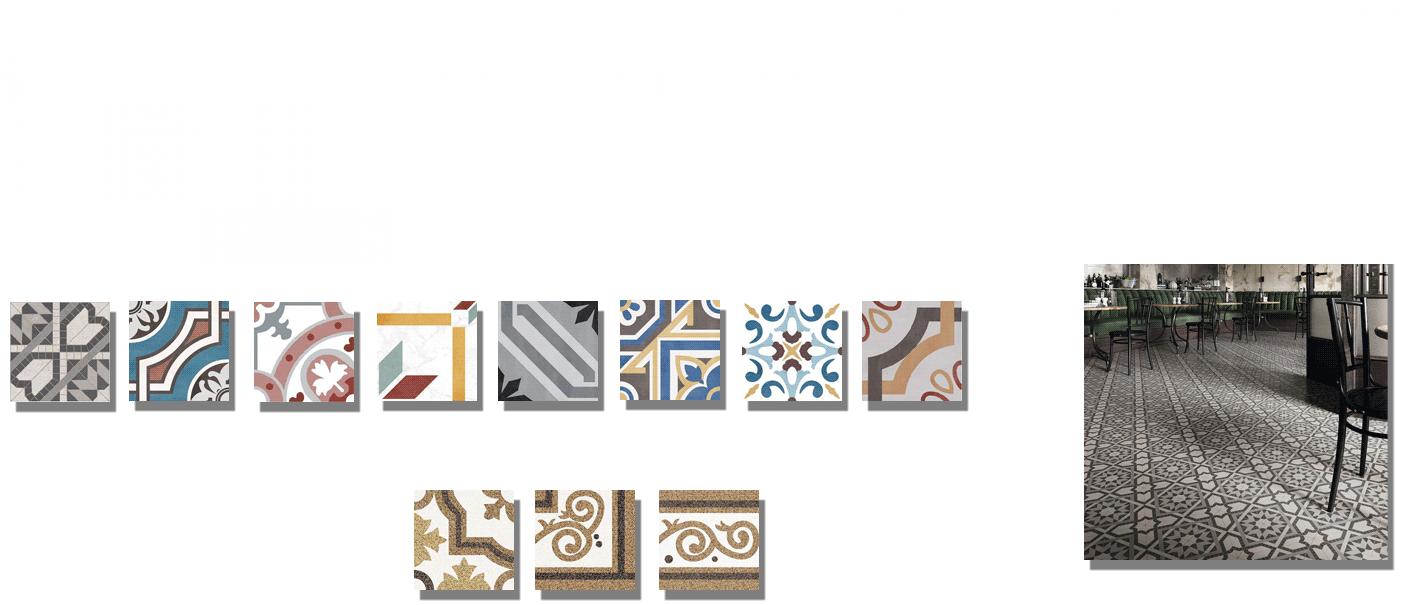 Pavimento imitación hidráulico barraca 20x20 cm. Diseños del pasado con tecnología del presente, azulejo para paredes y suelos vintage.