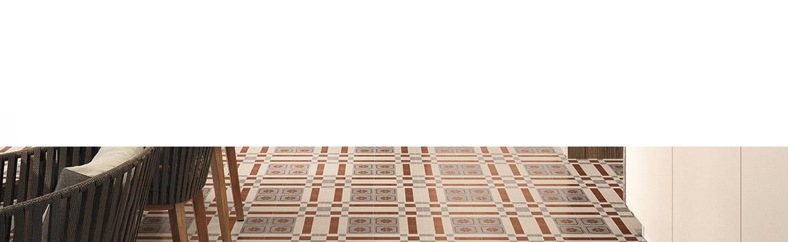 Pavimento imitación hidráulico barraca Rubi 20x20 cm. Diseños del pasado con tecnología del presente, azulejo para paredes y suelos vintage.