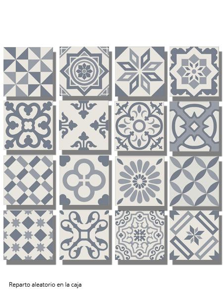 Pavimento imitación hidráulico Antigua azul decorado 20x20 cm. Diseños del pasado con tecnología del presente, azulejo para paredes y suelos vintage.