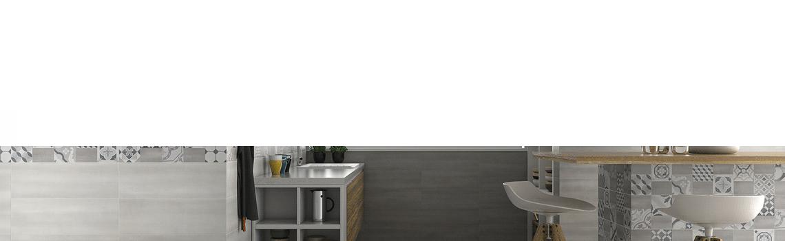 Revestimiento Clouds mate 20x60 cm. Una serie de azulejo para paredes imitación cemento altamente destonificado con decorado hidráulico.