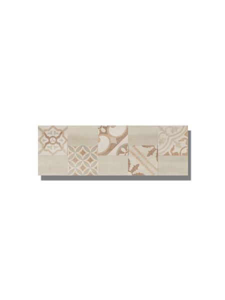 Revestimiento Decor Moma beige mate 20x60 cm. Una serie de azulejo para paredes imitación cemento altamente destonificado con decorado hidráulico.