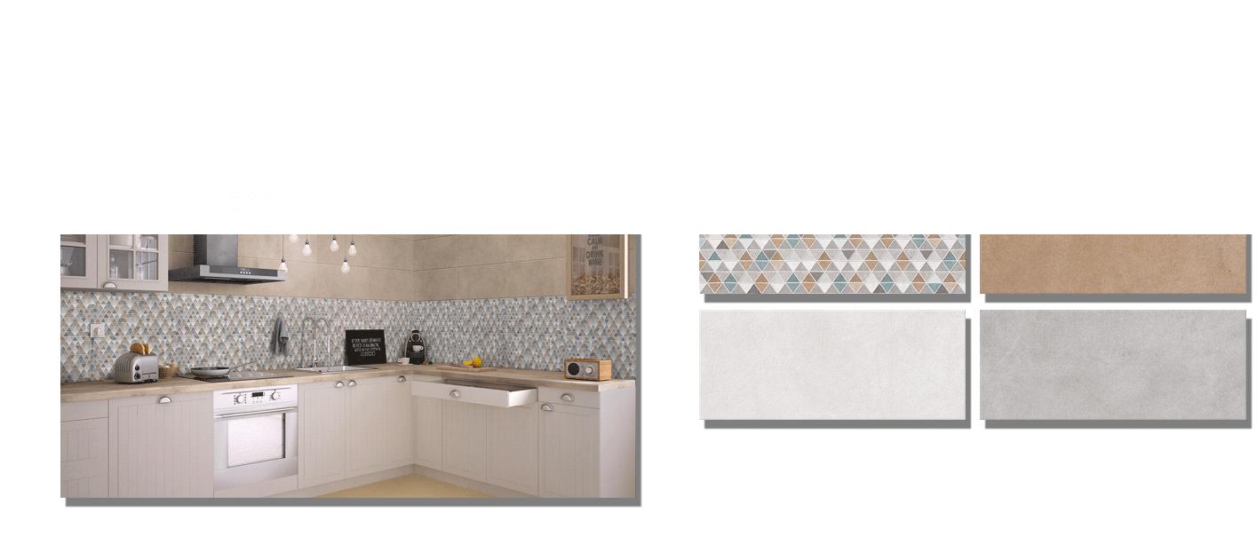 Revestimiento Ibiza mate 25x60 cm. Una serie de azulejo para paredes imitación cemento texturizado con decoración con formas geométricas.