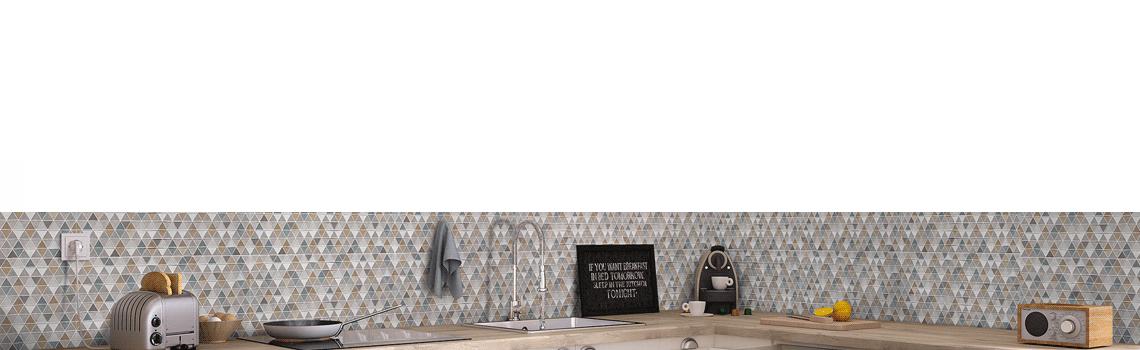 Revestimiento Ibiza Vison mate 25x60 cm. Una serie de azulejo para paredes imitación cemento texturizado con decoración con formas geométricas.