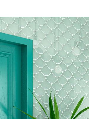Azulejo escama de pez Jazz 15x14,2 cm pasta blanca. Un revestimiento de pasta blanca de alta calidad para decoraciones estilo vintage o retro.
