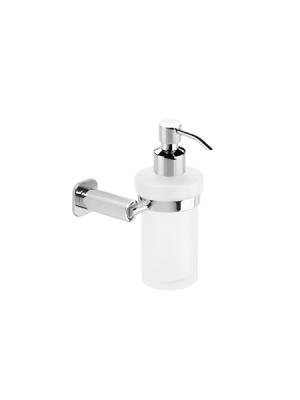 Dosificador cristal de jabón a pared serie Bilbao- Accesorio de baño. Accesorio de baño fabricado en latón de primera calidad acabado cromo.