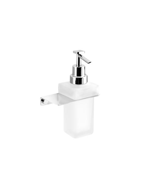 Dosificador de jabón a pared serie Castellón- Accesorio de baño. Accesorio de baño fabricado en latón de primera calidad acabado cromo, cristal matizado.