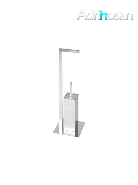 Escobillero porta rollo a suelo cuadrado cromado 22 x 70 cm- Accesorio de baño