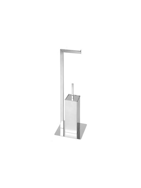 Escobillero porta rollo a suelo cuadrado cromado 22 x 70 cm. Escobillero con portarrollo a suelo con base cuadrada fabricado en acero inoxidable