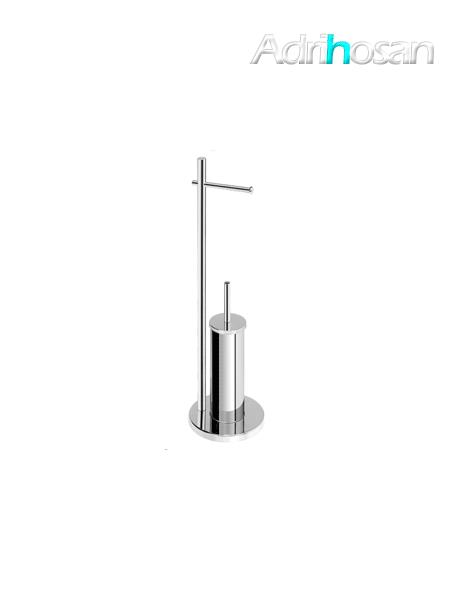 Escobillero porta rollo a suelo redondo cromado 21 x 74 cm- Accesorio de baño