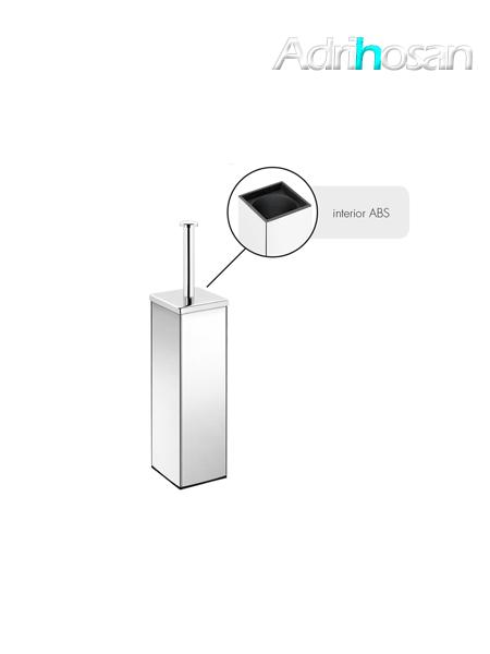 Escobillero sobre suelo cuadrado acero inox cromado 8 x 39.5 cm- Accesorio de baño