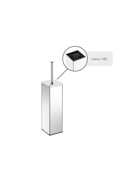 Escobillero sobre suelo cuadrado acero inox cromado. Un escobillero fabricado en acero inoxidable 304 y latón cromado con acabado brillo e interior en ABS
