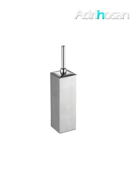 Escobillero sobre suelo cuadrado acero inox cromado 8 x 41 cm- Accesorio de baño