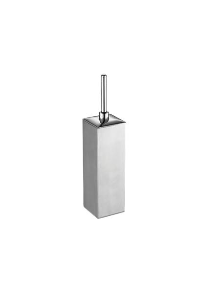 Escobillero sobre suelo cuadrado acero inox cromado. Un escobillero fabricado en acero inoxidable 304 y latón cromado con acabado brillo.