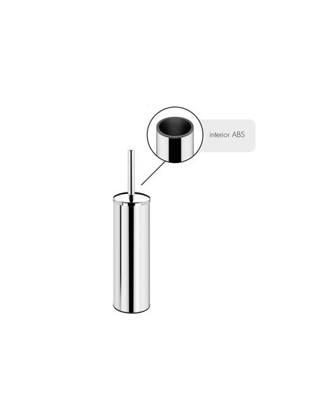Escobillero sobre suelo wc acero inox cromado. Un escobillero fabricado en acero inoxidable 304 y latón cromado con acabado brillo.Interior ABS