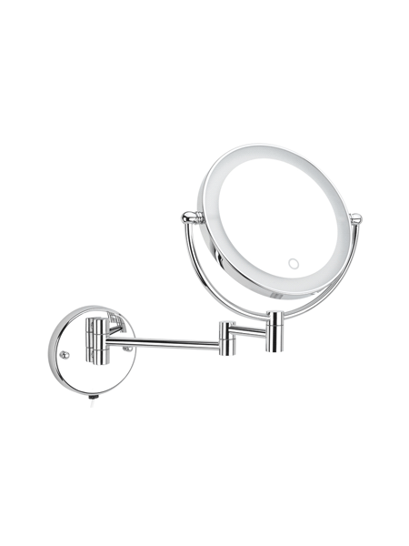 Espejo cromado de aumento x3/x5 barra articulada con led.Espejo de aumento articulada fabricado en acero inoxidable y latón cromado de tres o cinco aumentos