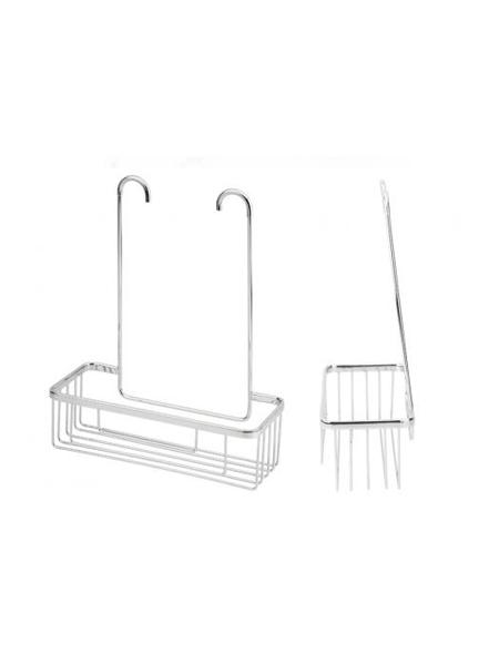 Jabonera de ducha cromada para colgar de grifería 30.5 x 37.5 x 12.5 cm.Se adapta a cualquier monomando de ducha ya que la distancia entre tomas es estandar