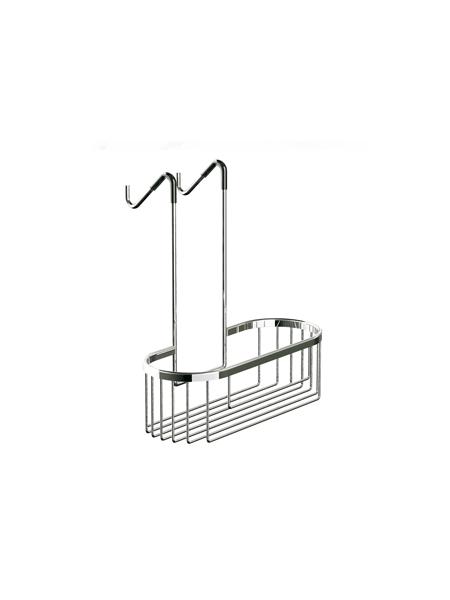 Jabonera de ducha cromada para colgar de mampara ovalada 32 x 34 x 13 cm. Una solución ideal sin tener que hacer orificios en el azulejo del baño.
