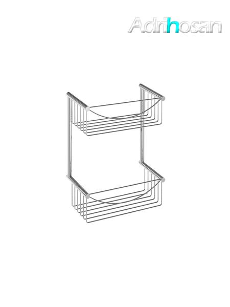Jabonera de ducha cromada rectangular doble latón cromado 30 x 38 x 12 cm