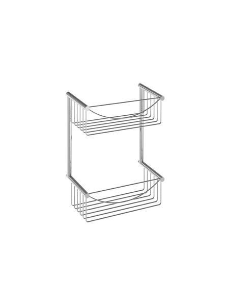 Jabonera de ducha cromada rectangular doble latón cromado 30 x 38 x 12 cm. Jabonera para colgar en pared de pequeño formato fabricada en latón cromado.
