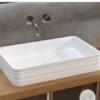 Lavabo cerámico Teide 67x38x12 cm exterior relieve. Un lavabo sobre encimera fabricado en porcelana sanitaria con un bonito decorado exterior.