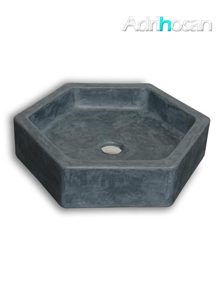 Lavabo micromortero sobre encimera Hexael 50x57x13 color azul hegeo