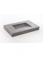 Lavabo micromortero sobre encimera Losan 91x56x11 color cemento. Acabado microcemento efecto efecto hormigón bruñido, color cemento/personalizable.