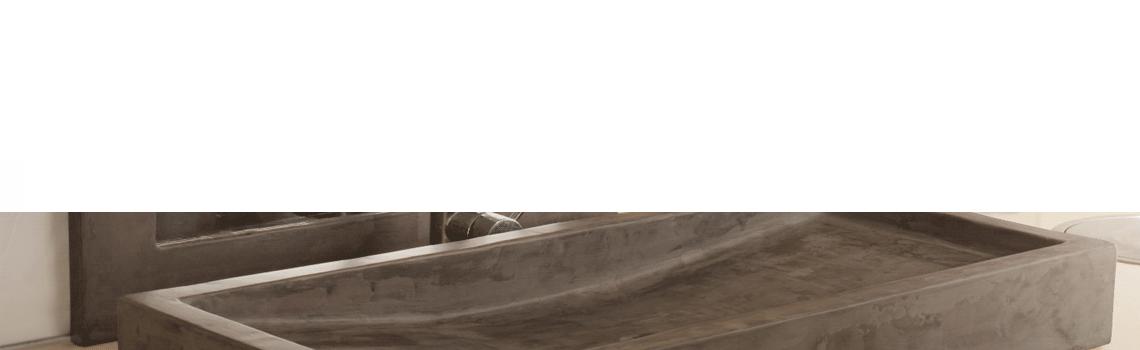 Lavabo micromortero sobre encimera Sierra nevada color cemento, disponible en dos medidas de largo 90 y 116 cm. Descubre la exclusividad del micromortero.