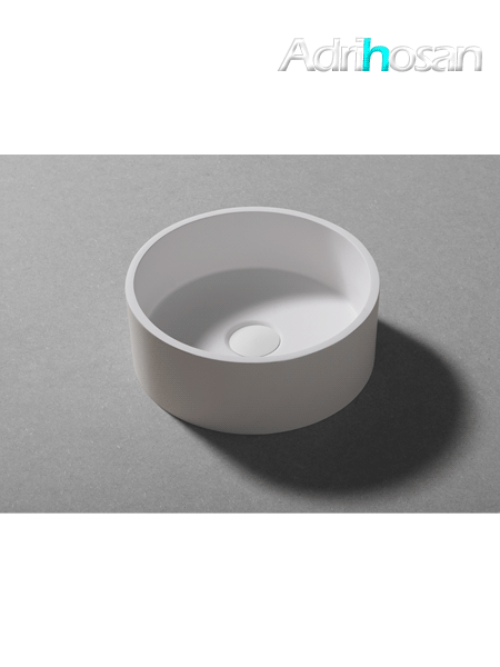 Lavabo Solid Surface circular Bobbio D45 x 25 cm blanco