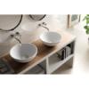 Lavabo Solid Surface circular Laquila D40 x 15 cm. Un lavabo con bonita forma estilizada fabricado en brillo o mate en Solid Surface.