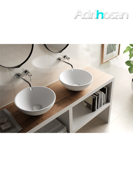 Lavabo Solid Surface circular Laquila D40 x 15 cm blanco