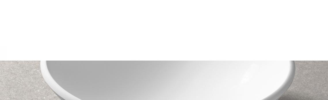 Lavabo Solid Surface circular Portofino D36 x 13 cm. Un lavabo con bonita forma estilizada fabricado en brillo o mate en Solid Surface.