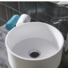 Lavabo Solid Surface circular Sottile Tondo D37 x 13 cm. Un lavabo con bonita forma estilizada fabricado en brillo o mate en Solid Surface.