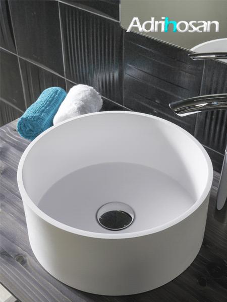 Lavabo Solid Surface circular Sottile Tondo D37 x 13 cm blanco