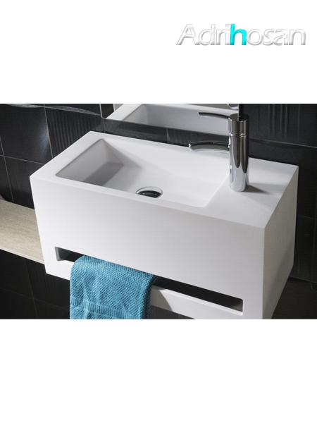 Lavabo Solid Surface con toallero cortona 60 x 30 x 30 cm blanco