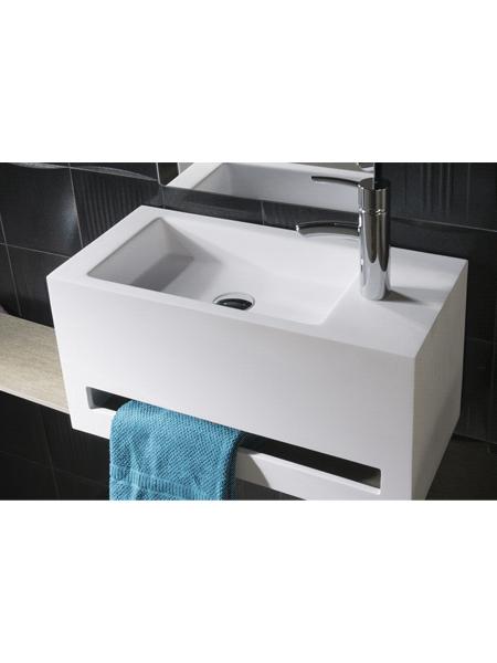 Lavabo Solid Surface con toallero cortona 60 x 30 x 30. Un lavabo suspendido con toallero incorporado en el frente. Brillo o mate.