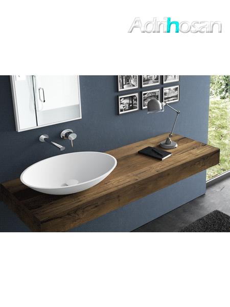 Lavabo Solid Surface ovalado Vaccolino 58 x 42 x 12 cm blanco