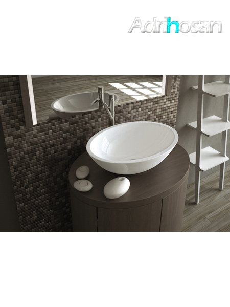 Lavabo Solid Surface ovalado Monticelli 50 x 35 x 16 cm blanco