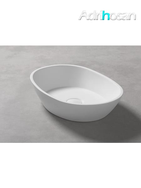 Lavabo Solid Surface ovalado Positano 50 x 30 x 12 cm blanco