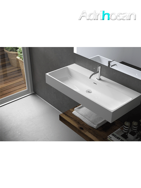 Lavabo Solid Surface rectangular Bolonia 120.5 x 46 x 12 cm 2 senos