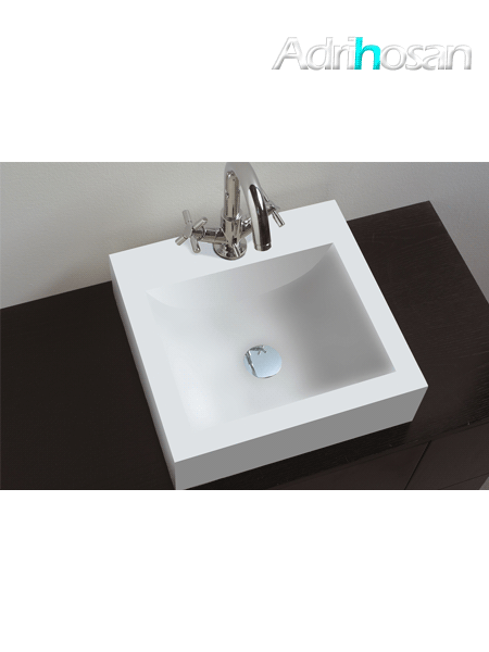 Lavabo Solid Surface cuadrado box 40 x 38 x 12 cm blanco