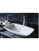 Lavabo Solid Surface rectangular Camogli 50 x 34 x 11.5 cm. Un lavabo con bonita forma estilizada fabricado en brillo o mate en Solid Surface.