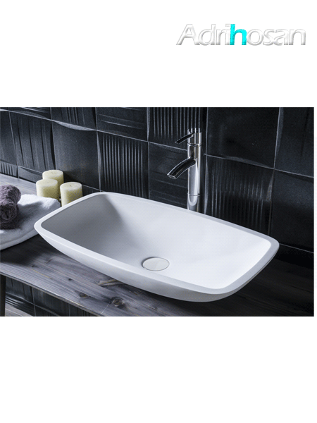 Lavabo Solid Surface rectangular Camogli 60 x 34 x 11.5 cm blanco