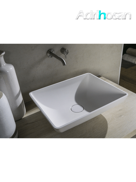 Lavabo Solid Surface rectangular Capri 46 x 36 x 13 cm blanco