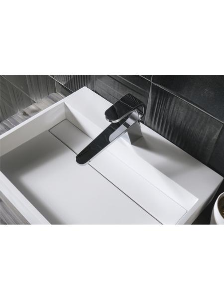Lavabo Solid Surface rectangular Castelsardo 50 x 30 x 11 cm blanco. Un Lavabo sobre encimera que podemos suministrar en mate o brillo.